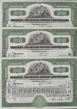 3 Stks Brooklyn & Queens Transit Corp 1939 L/T 100 share Preferred Green.