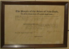 Antique 1842 NEW YORK Militia WILLIAM H SEWARD & RUFUS KING signed Appointment