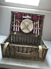 2 Person Wicker Picnic Hamper Basket with Red Tartan Lining VGC