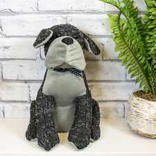 Black & Grey Fabric Sitting Dog Door Stop Weighted Novelty Animal Stopper Wedge