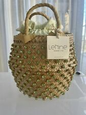 LE NINE ITALY large basket bag  - Green Crystals and Gingham (RRP $730) NWT