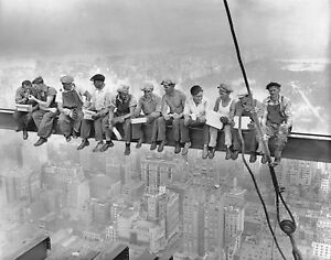 Iconic History - Men Having Lunch Top Of Skyscraper Large Canvas Picture 20x30""
