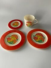 Set Of 4 Plastic Play Dishes Mushrooms Vintage