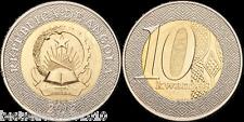 ANGOLA 10 KWANZA BEAUTIFUL BIMETEAL COIN UNC # 2003