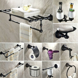 Oil Rubbed Bronze Carved Bathroom Accessories Set Bath Hardware Set Towel Bar
