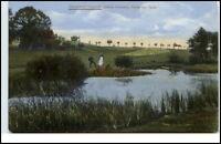 Hinterhermsdorf Sachsen AK ~1910/20 Personen am Teich Partie am Teich ungelaufen