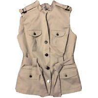 Worthington Womens Gray Button Down Sleeveless Military Style Vest Top Medium
