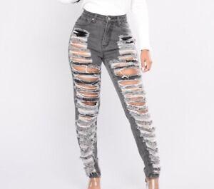 Fashion Nova Distressed Boyfriend Jeans Gray