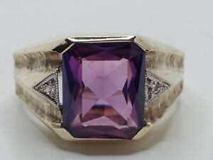 Mens 10k Solid Yellow Gold 6.25ct Purple Sapphire Diamond Accents Ring Size 10