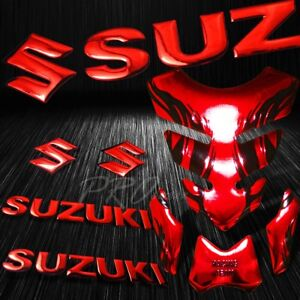 "Chrome Red Tribal Fire Tank Pad+8"" 3D Suzuki Logo+Letter Fairing Emblem Sticker"