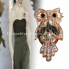 New Arrival Women Fashion  Lovely Owl Animal Crystal Brooch Pin Great for a Gift