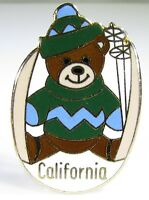 Gold Tone Pin with Enameled California Skiing Teddy Bear by Pinnacle Designs