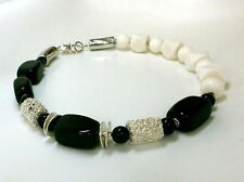 Schaumkoralle / Koralle & Onyx & Achat Kette Halskette Collier Schwarz Weiß