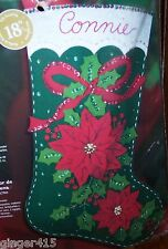 "Bucilla ""ELEGANT POINSETTIA"" Felt Christmas Stocking Kit OOP 85105"