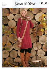 James C Brett Rustic Aran JB100 Knitting Pattern Ladies Sweater Dress