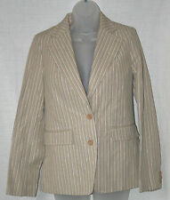 FRENCH CONNECTION UK10/EU38/US6 STONE STRIPED COTTON/LINEN LINED JACKET - NEW