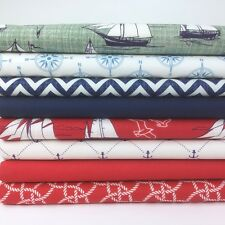 Nautical themed 8 piece 25cm x 25cm bundle 100% cotton fabric for craft/ sewing