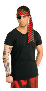 Mens Pirate Tattoo Sleeve Tatted Arm Sleeves Skull Anchor Costume Tats Adult NEW
