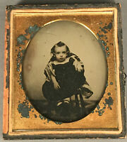 1/6 PLATE AMBROTYPE OF A BIG-EYED YOUNG CHILD, IN HALF CASE