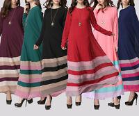 Vintage Women Abaya Kaftan Stripe Jilbab Islamic Muslim Long Sleeve Maxi Dress