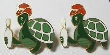 Vintage Lot of 2 Turtle with Bowling Pin -  Hat Pin Pinback