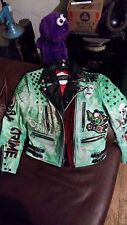 Punk Deathrock Straight to Hell 38 Mens Green Leather spiked studded jacket