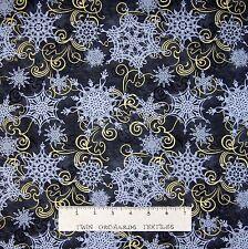 "Christmas Fabric - Crystal Palace Snowflake Swirl Gray - StudioE Cotton 24"""