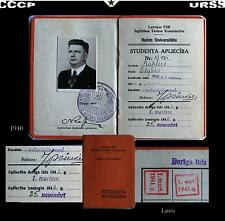 Anc.document-Militaria-LATVIA-Russe-URSS-CCCP-soviétique-Russe1940-rare