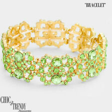 Crystal Bracelet Prom Formal Jewelry High Quality Peridot Green Glass