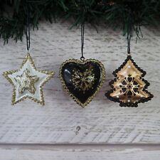 Triple Décoration Sapin De Noël Pendant Or Noir Canette Cœur Étoile Arbre