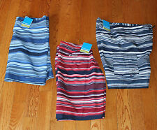 $180 NEW (3) Columbia PFG Boardshorts Lot Tropic Shore Striped Red Navy Blue NWT