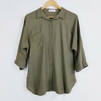 Ebby And I Womens Khaki Green Size S 8 10 Button Down Shirt 3/4 Sleeve