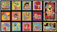 Loralie Joy Dog Panel Multi Color Fabric 24x44 Loralie Designs
