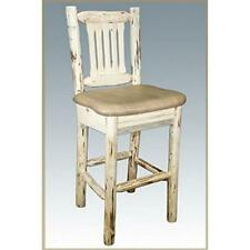 Montana Collection Barstool w/ Back, Clear Lacquer Finish w/ Upholstered Seat...