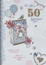 Carte D'Anniversaire - 50th Birthday Femme Âge 50 Ans Oiseaux Ballons -