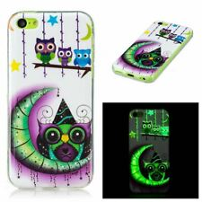 Owl and Moon TPU Gel Cover Glow in the Dark Phone Case for Apple iPhone 5C