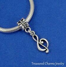 Silver TREBLE CLEF Music Note Musical Dangle Bead CHARM fits EUROPEAN Bracelet