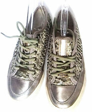 DKNY Patent Metallic Silver & Snakeskin Textured Leather Sneakers/Tennis Shoes,6