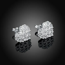 Heart Diamond 925 Silver Plated Earrings Earbuds Wedding Jewelry Gifts For Women