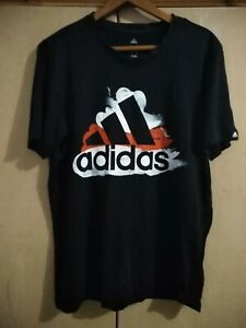 ADIDAS - CLASSIC LOGO IN RED AND WHITE CLIMALITE COTTON - T SHIRT - SIZE LARGE