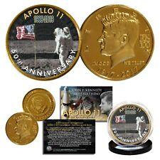 Apollo 11 Man on Moon 50th Anniversary JFK Centennial 24K Gold Clad Coin Flag