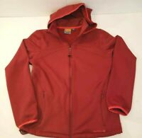 Merrell Womens Windbreaker Jacket Red Zip Up Opti-Wick Pockets Hooded Stretch M