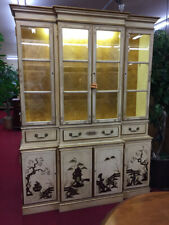 Cream and Gold Chinoiserie Cabinet - Lighted - Delivery Available