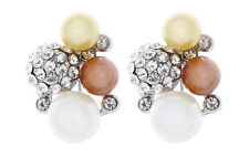 CLIP ON EARRINGS - silver plated with coloured pearls & clear crystals - Hilda S