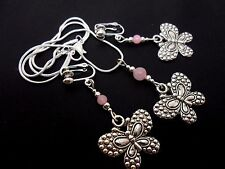 A TIBETAN SILVER BUTTERFLY & PINK JADE BEAD NECKLACE & CLIP ON EARRING SET. NEW