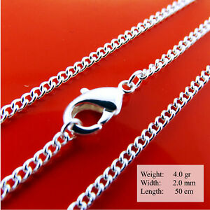 Necklace 925 Sterling Silver Filled Solid Ladies Real Curb Pendant Chain 50cm