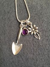 Silver Charm necklace gardening theme flower with Channel crystalcharm Amethyst