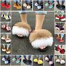 Women BIG Fluffy Real Fox/Raccoon Fur Slides Slipper Outdoor Flat Shoes Sandals