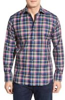 * NWT Bugatchi Shaped Fit Long Sleeve Plaid Herringbone Sport Shirt NWT, M, 2XL