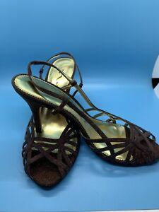 NINA Brown Metallic Womens Heels/pumps Sandals SZ 8.5